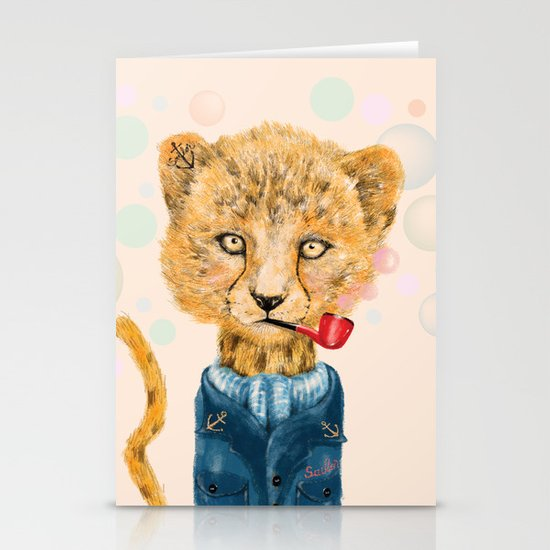 Cheetah Sailor Stationery Cards