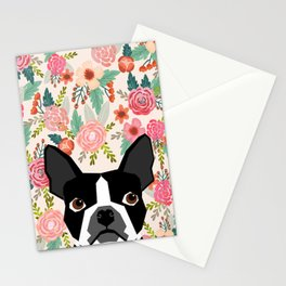 Boston Terrier floral dog head cute pet portrait gifts for boston terriers must haves Stationery Cards