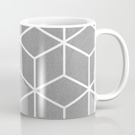 Light Grey and White - Geometric Textured Cube Design Coffee Mug