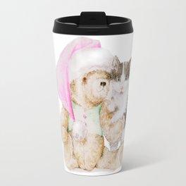 Christmas cuteness: Kitten and Teddy Bear in Santa Hat Travel Mug