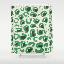 Leopard Skin Inspire Pattern Green Shower Curtain