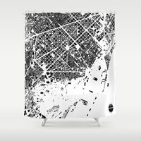 barcelona Shower Curtains featuring Barcelona by Maps Factory
