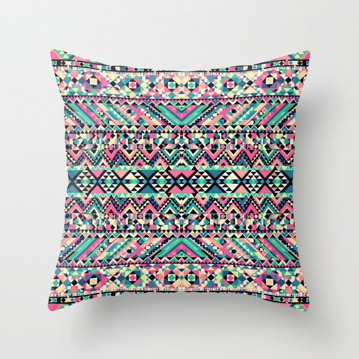 Pink Turquoise Girly Aztec Andes Tribal Pattern Throw Pillow