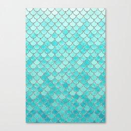 Teal Mermaid Scales Canvas Print