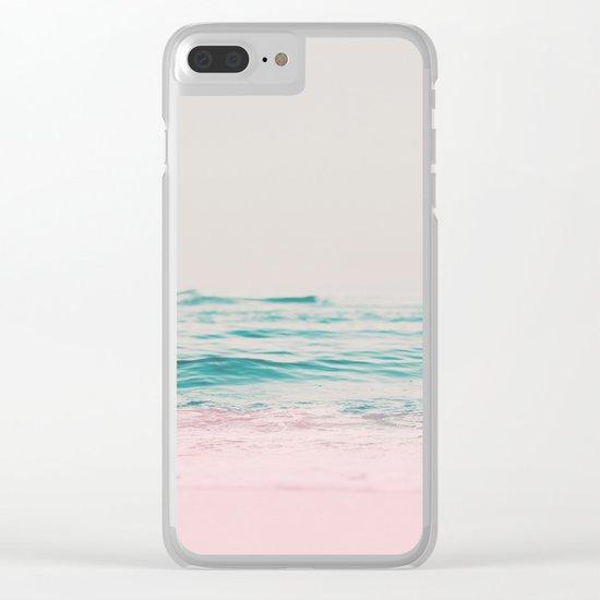 Vintage Pastel Ocean Waves Clear iPhone Case