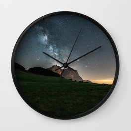 Milky Way and Mountains in the Italian Dolomites Wall Clock