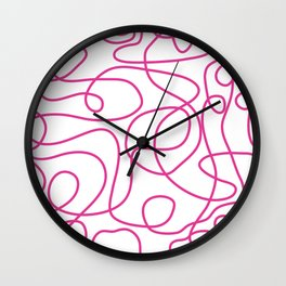 Doodle Line Art | Hot Pink Lines on White Background Wall Clock
