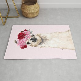 Llama with Pink Roses Flower Crown Rug