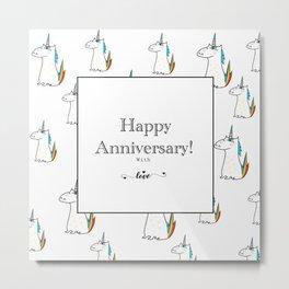 Happy Anniversary unicorn design Metal Print