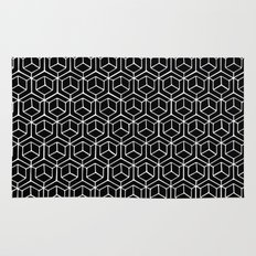 Hand Drawn Hypercube Black Rug