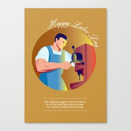 Happy Labor Day Workforce Celebration Retro Canvas Print