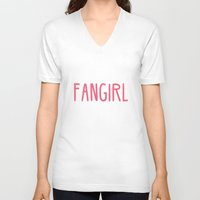 fangirl V-neck T-shirts featuring Professional Fangirl  by Whispering Words