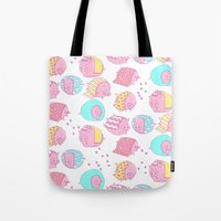 blankets Tote Bags featuring Pigs in Blankets by stephstilwell
