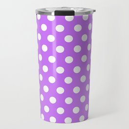 White Polka Dots on Purple Travel Mug