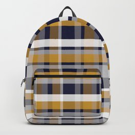 Modern Retro Plaid in Mustard Yellow, White, Navy Blue, and Grey Backpack