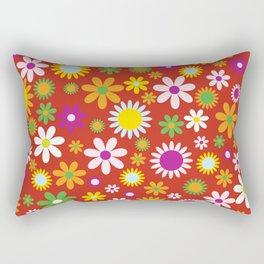 Flowers, Petals, Blossoms - Red Green Orange Rectangular Pillow