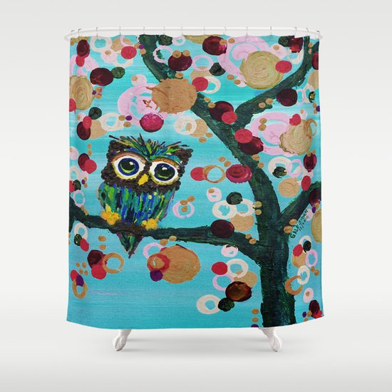 :: Gemmy Owl Loves Jewel Trees :: Shower Curtain