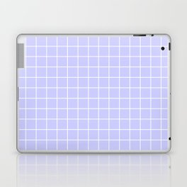 Lavender blue - heavenly color - White Lines Grid Pattern Laptop & iPad Skin