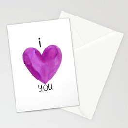 I heart you in purple Stationery Cards