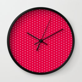 White dots on bright pink background Wall Clock