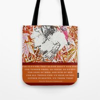 waldo Tote Bags featuring Ralph Waldo Turkeyson by Canis Picta