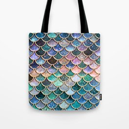 Multicolor Pink And Aqua Mermaid Scales - Beautiful Abstract Glitter Pattern  Tote Bag