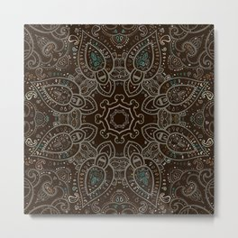 Earth Tones Paisley Mandala Metal Print