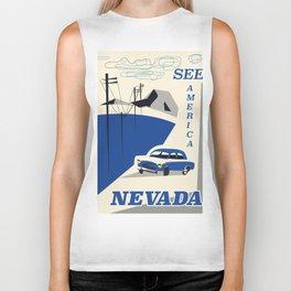 Nevada vintage travel poster Biker Tank
