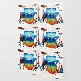 Drum Set Art - Color Fusion Drums - By Sharon Cummings Wallpaper