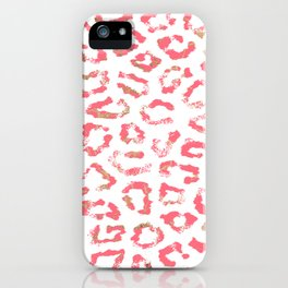 Girly coral pink gold foil trendy hipster animal print iPhone Case