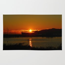 Sunset Over Columbia River At Astoria Harbor Rug