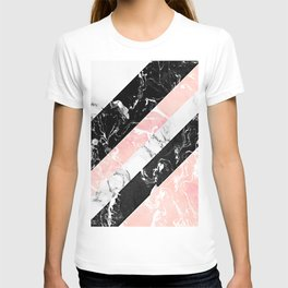 Modern black white pastel pink marble color block stripes T-shirt