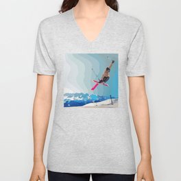 Man jumps with skies on piste with mountains and sky background Unisex V-Neck