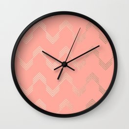 Simply Deconstructed Chevron White Gold Sands on Salmon Pink Wall Clock