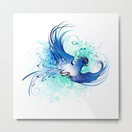 Watercolor Blue Bird Metal Print