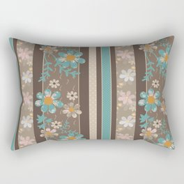 Retro . Turquoise and brown floral pattern . Rectangular Pillow