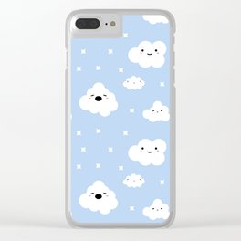 Blue Clouds Clear iPhone Case