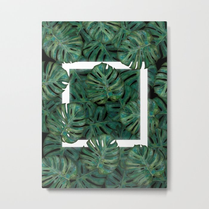 Square Between the Leaves Metal Print