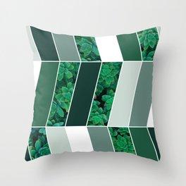 Green Herringbone #society6 #green #succulent Throw Pillow