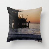 santa monica Throw Pillows featuring Santa Monica Beach Life by Amy J Smith Photography