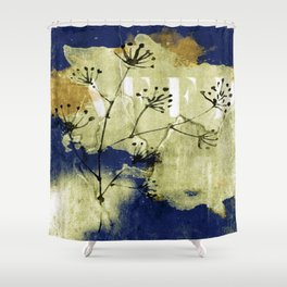 plant on blue wall Shower Curtain