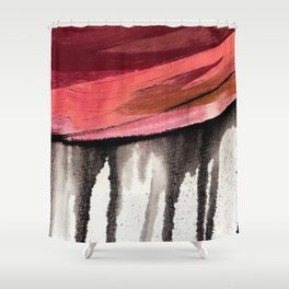 Entangled [4]: a vibrant, colorful abstract mixed-media piece in reds, pinks, black and white Shower Curtain
