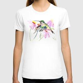 Hummingbird and Light Purple Flowers T-shirt