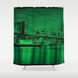 New York City - Brooklyn Bridge Green Twilight - Pop Art Panorama - Jéanpaul Ferro - Shower Curtain