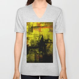 Sail Away - Abstract painting of a boat sailing into the horizon Unisex V-Neck