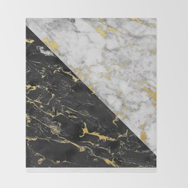 Black & White Gold Flecked Marble Throw Blanket