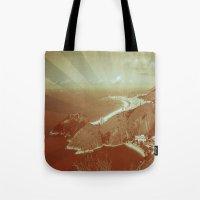 rio de janeiro Tote Bags featuring Rio de Janeiro by amber havenside