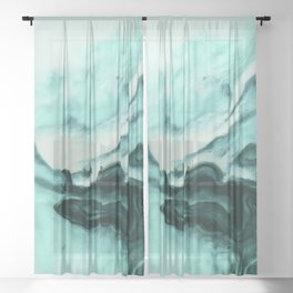 Abstract marbling mint Sheer Curtain