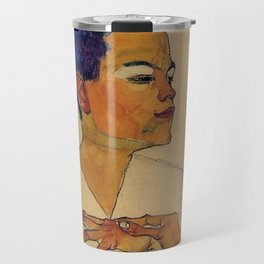 SELF PORTRAIT WITH HANDS ON CHEST - EGON SCHIELE Travel Mug