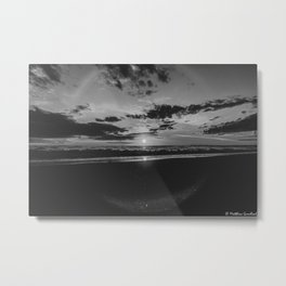 Sunset North Sea Waves Denmark Bjerregard Beach 6 bw Metal Print